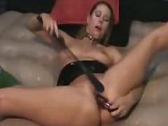 Kinky brunette toy spanking gushing snatch spray