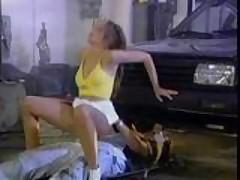 Tight teeny german slut gets a double garage fuck