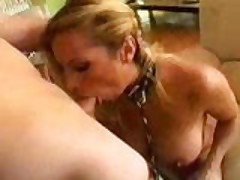 Amazing blonde sucks deep and ass fucked