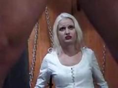 Femdom binds and spanks slave