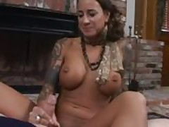 Tattooed MILF Mona Love gives great pov blowjob