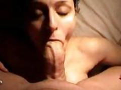 Brunette sucks a monster dick