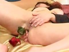 Kinky brunette anal rose