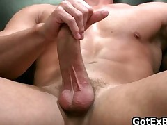 Muscled straight guy jerking his massive part5
