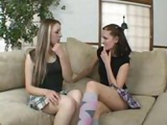 Wet cunt teen lesbians go at it