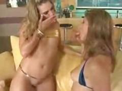 Hot sexy big butt bikini babes and one cock