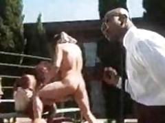 Horny cheerleader orgy outside!
