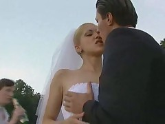 Sexy blonde bride hardcore outdoor action
