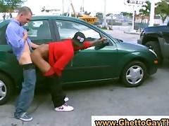 White dude fucks dusky supplicant in public motor vehicle park