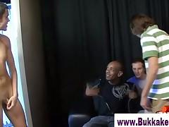 Guy sucking off more than ten cocks