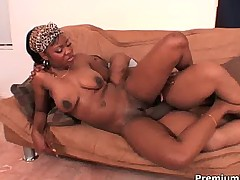 Ebony chick gets serious black meat from behind