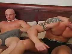 Str8 guys jerk-off together watching porn