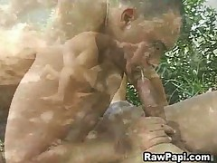 Horny latin guy tasting fresh sperm in his mouth