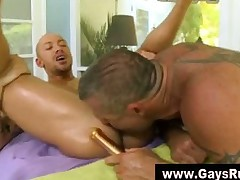 Gay dildo irritant play and rub-down