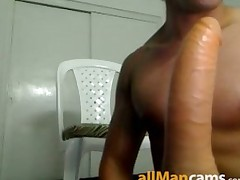 Hot Amateur Latino Jerks Off and Rides Dildo on Webcam