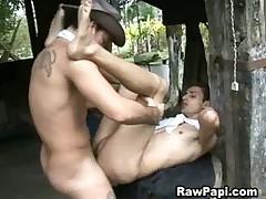 Agressive latino gay studs indulging their bareback fantasies