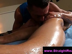 Gay creep licks straight guys asshole on massage table