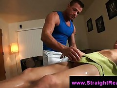 Gay creep licks straight guys asshole on massage table