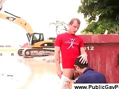 Gay guys having sex at a construction site