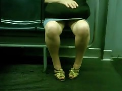 Chubby mature upskirt in bus