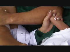 Nurse in stockings does DP with patients