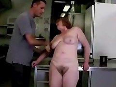 Ugly toothless Granny eats ass in kitchen.