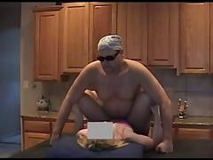 Wife In Nylons Fucks In Kitchen