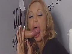 Ginger sucks many huge cocks in gloryhole