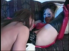 Leather Lesbians with dildos