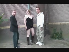 Public sex threesome with a pregnant girl