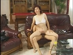 Granny Fucked on a Leather Sofa