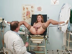 Viktorie hairy pussy gyno gaping exam to hand clinic