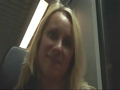 Amateur blonde masturbating and fucking in train