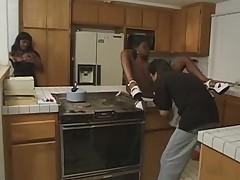 Ebony slut in the kitchen
