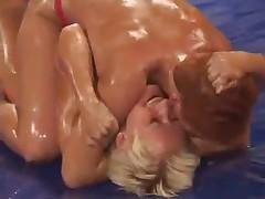 Lesbo Oil Wrestling 1