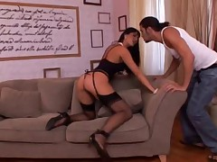 Simony in black stockings fucking and footjob