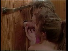 Lesbians spied on, then suck dick through glory hole