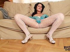 Lovely babe in white nylon pantyhose gets nasty