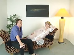 Pregnant Blonde with Glasses and 3 Guys