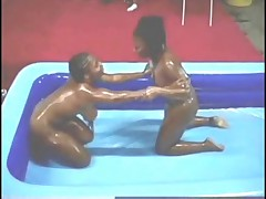 Ebony bashment oil wrestling