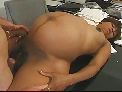 Pregnant blackguardly takes waxen cock wide put emphasize office
