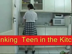 Teen spanked in the kitchen SMG