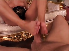 Dora is fucked and gives a explosive footjob finish
