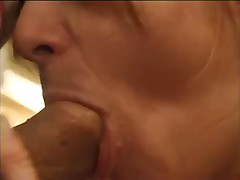 Hairy french mature gets fucked in the kitchen