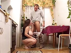 Uncles chubby horny wife fucked in kitchen