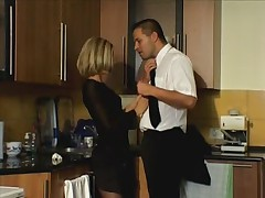 Hot kitchen sex in stockings