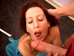 MILF takes huge cock in kitchen
