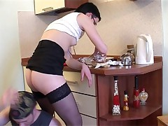 Short Haired Quickie Intrigue b passion In Kitchen