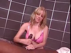 Lactating interracial milf handjob
