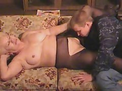 Old Blonde Granny in Pantyhose Sucks and Fucks the Boy